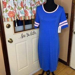 LuLaRoe Julia dress size XL blue/pink NWT